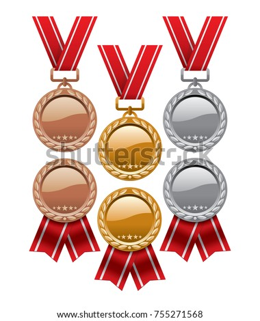 vector set of gold  silver and