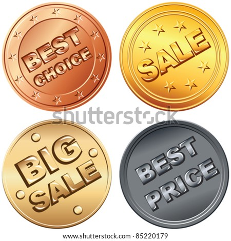 vector Set of gold, silver, bronze money coin, price tags and sale signs.