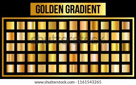 Vector set of golden gradients. Vector Illustration. eps 10