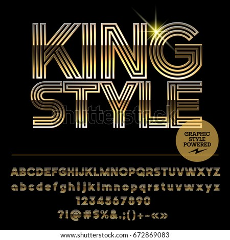 Vector set of golden King Alphabet letters. Font contains graphic style