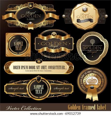 Vector set of golden luxury ornate frames
