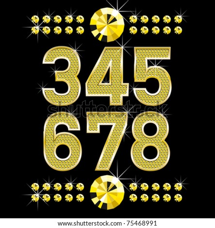 vector set of golden metal diamond letters and numbers big and small