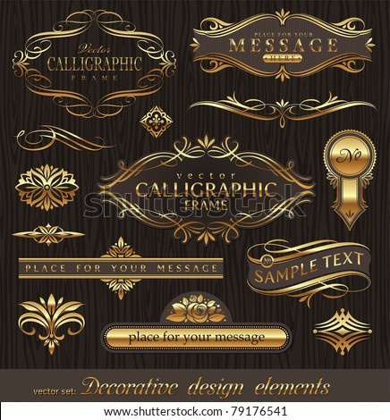 Vector set of golden ornate page decor elements banners frames dividers ornaments and patterns on dark wood background