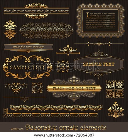 Vector set of golden ornate page decor elements: borders, banner, dividers, ornaments and patterns on wooden wall