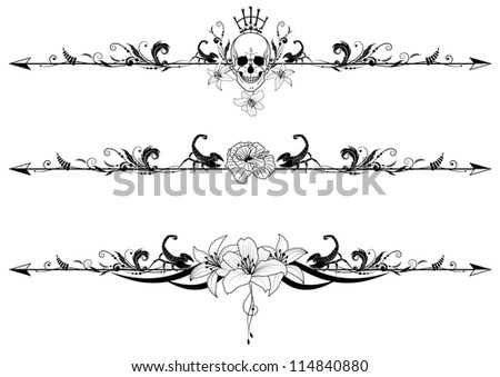Vector Set Of Gothic Borders With Cranium Scorpions And Flowers