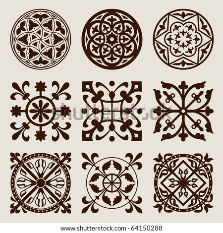 Vector set of gothic elements