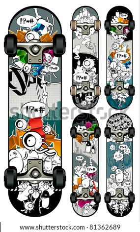 Vector set of graffiti skateboards styles. All elements are grouped. Wheels are on separate layer.
