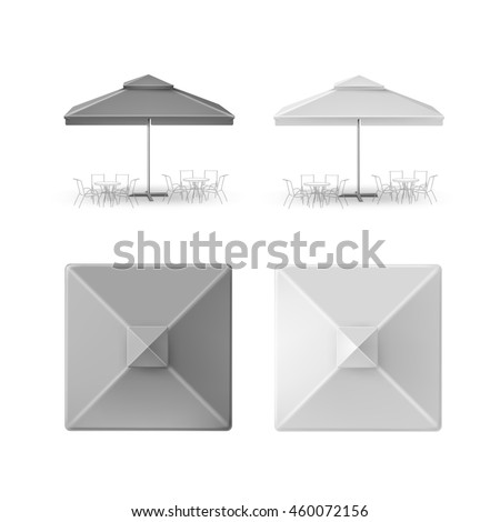 Vector Set of Gray Blank Outdoor square Umbrella Parasol for Branding Top Side Front View Mock Up Isolated on White Background