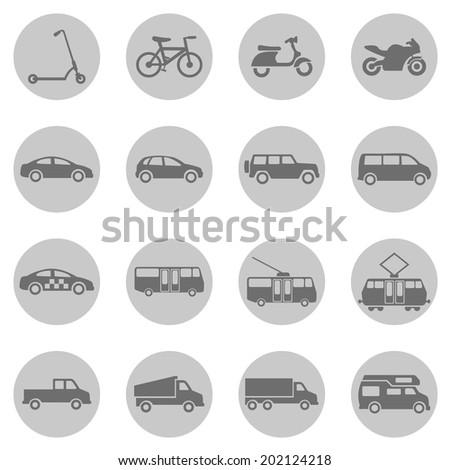 Vector Set of Gray Circle  Ground Transportation Icons