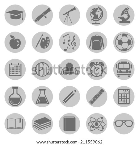 vector set of 25 gray school