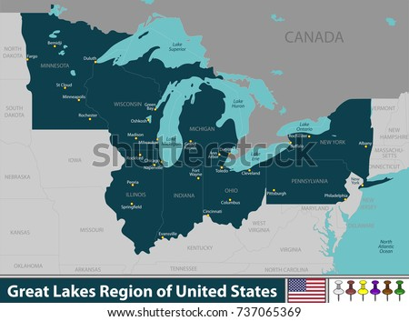 vector set of great lakes
