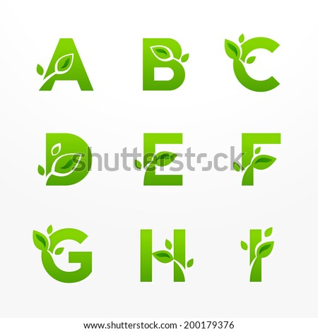 Vector set of green eco letters logo with leaves Ecological font from A to I