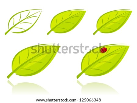 Vector set of green leaves, eco concept