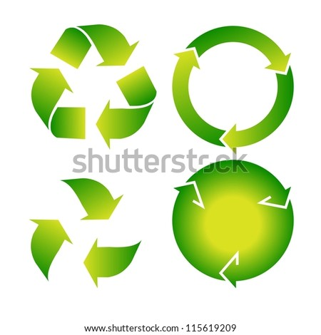 Vector set of green recycle icon on white background
