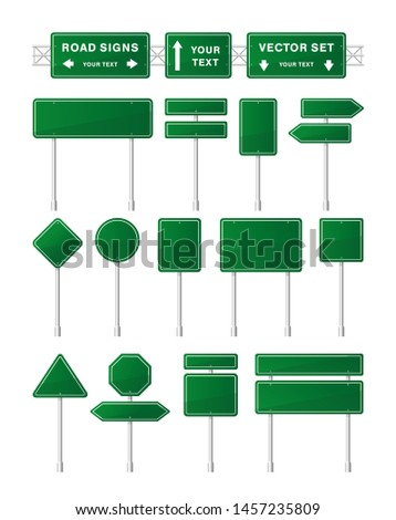 Vector set of green road signs and arrow isolated on white background. Direction highway city. Tables of routing. Traffic symbol. Temporary traffic signs. Mockup.