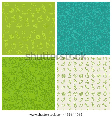 vector set of green seamless