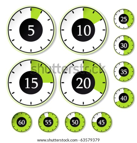 Vector set of green timers