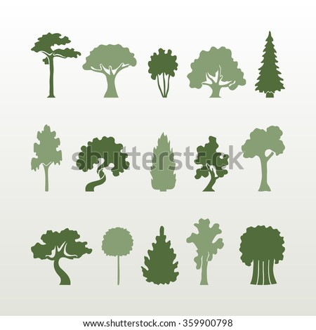 vector set of green trees