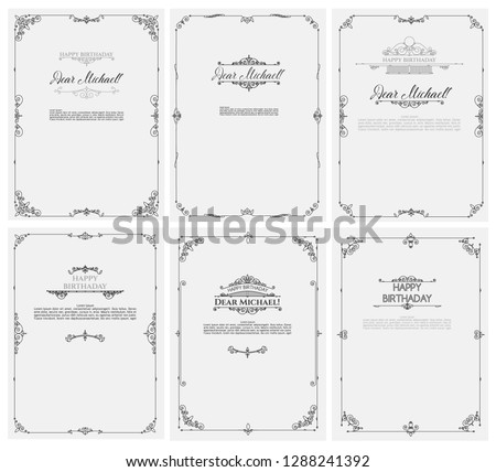 Vector set of greeting Cards for Happy Birthday. Postcards template with inscriptions and ornaments. Composition of vintage elements for banners, electronic cards, printed invitations.  #1288241392