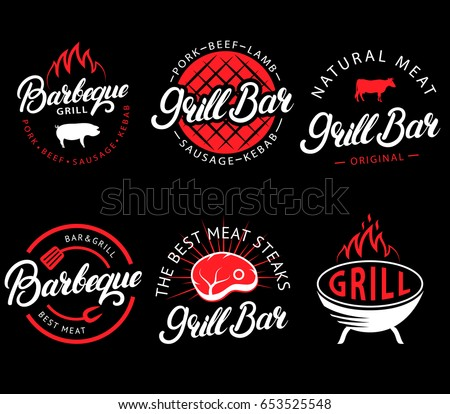 vector set of grill bar and bbq ...