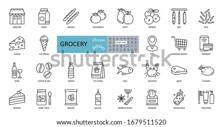 Vector set of 29 grocery icons with editable stroke. Images of the departments of the grocery store, online sales, geo delivery, consumer basket, dairy and meat products, bread, vegetables, fruits