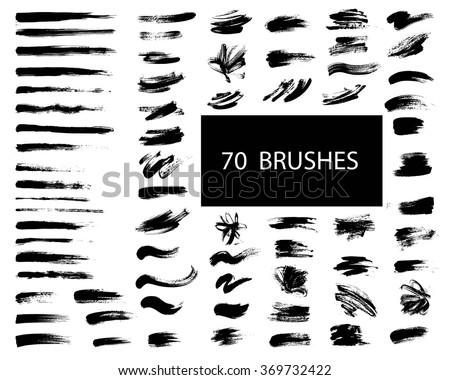 Vector set of grunge artistic brush strokes, brushes. Creative design elements.
