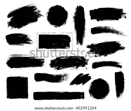 Vector set of grunge artistic brush strokes, brushes. Creative design elements.  #402991204