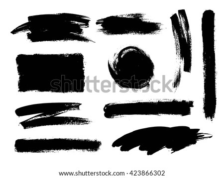 Vector set of grunge artistic brush strokes. Creative design elements. Hand drawn black  objects, shapes. #423866302