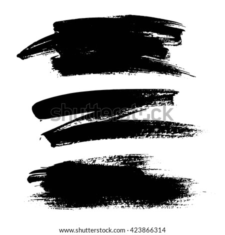 Vector set of grunge artistic brush strokes. Creative design elements. Hand drawn black objects, shapes.
