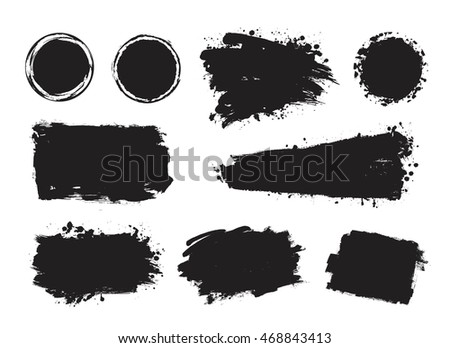 Vector set of grunge artistic brush strokes, design elements, circles. Empty black backgrounds, frames for text or quote. #468843413