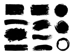 Vector set of grunge artistic brush strokes, design elements. Empty black backgrounds, frames for text or quote.