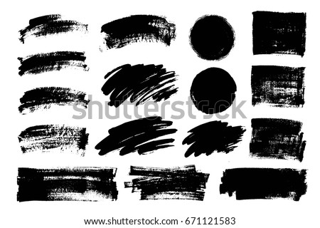 Vector set of grunge artistic brush strokes, design elements, textures, brushes. Empty black backgrounds, frames for text or quote.