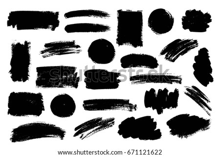 Vector set of grunge artistic brush strokes, design elements, textures, brushes. Empty black backgrounds, frames for text or quote. #671121622