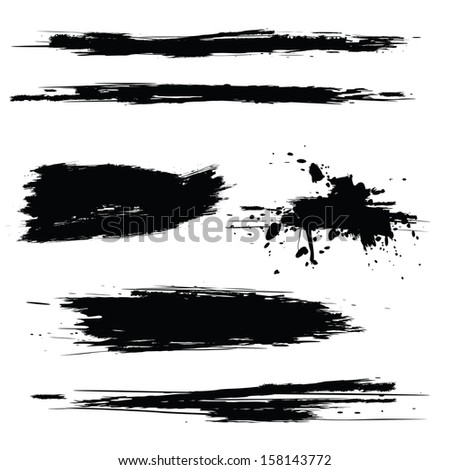 Vector set of grunge brush isolated on white
