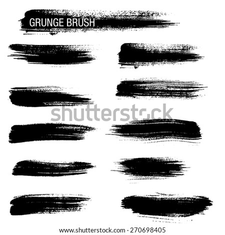 Vector set of grunge brush strokes 6