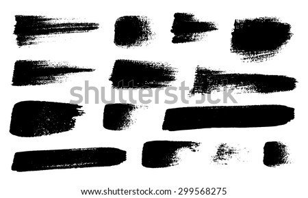 Vector set of grunge brush strokes, black isolated on white background. #299568275
