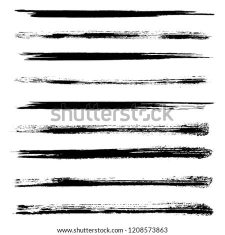 Vector set of grunge brush strokes. Black vector brush strokes collection. Black paint spots vector set #1208573863