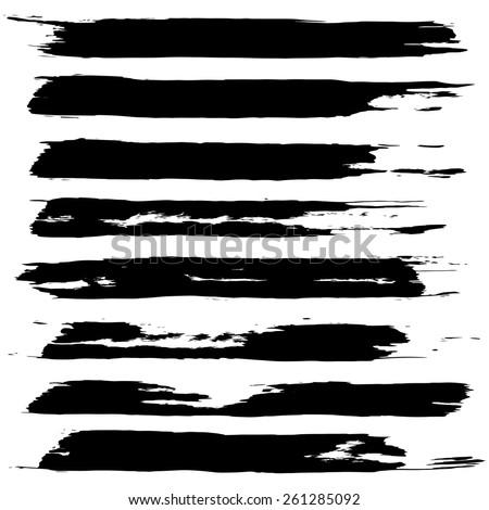 Vector set of grunge brush strokes. Black vector brush strokes collection. Black paint spots vector set  #261285092