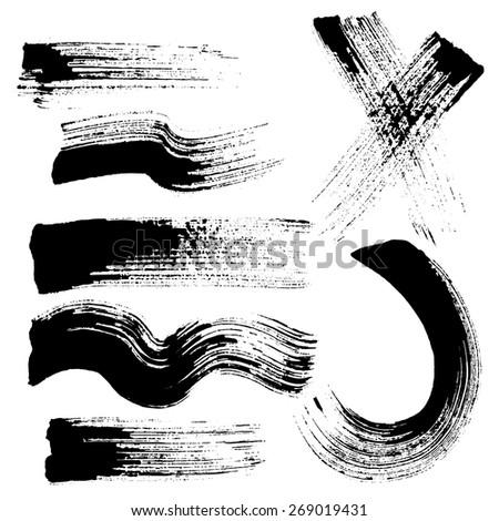 vector set of grunge brush