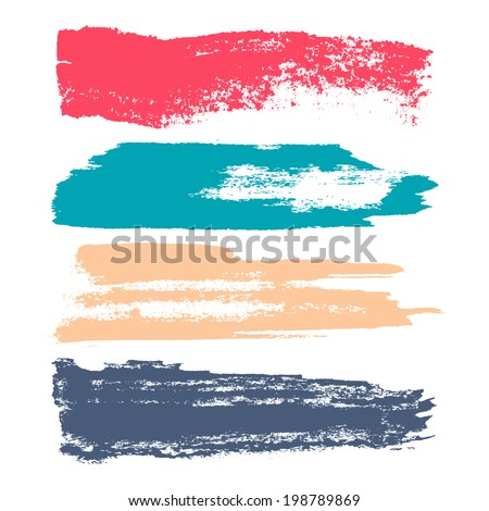 Vector set of grunge brush strokes. Set of colorful brush strokes.