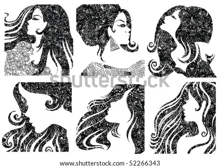 "Vector set of grunge closeup silhouette portraits of beautiful woman with long hair (From my big ""Vintage woman collection "")"
