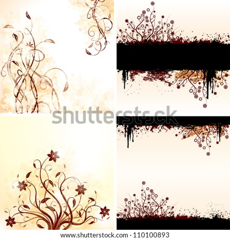 Vector set of grunge floral backgrounds