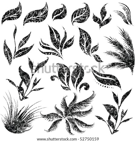 "Vector set of grunge leafs and flower design elements (from my big ""Floral collection"")"