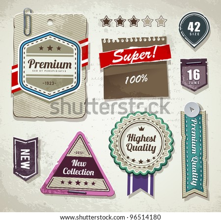 Vector set of grunge paper labels.