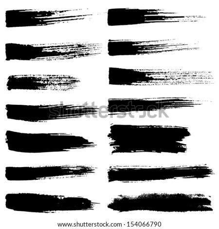 Vector set of grunge watercolor brush strokes.  Black collection of black vector oil paint brush strokes isolated on white background. Paint brush strokes.