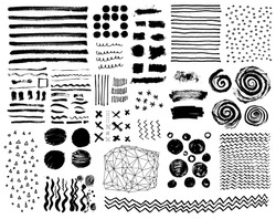 Vector set of grungy hand drawn textures. Lines, circles, crosses, smears, spirals, waves, brush strokes, triangles. Hand drawn elements for your graphic design