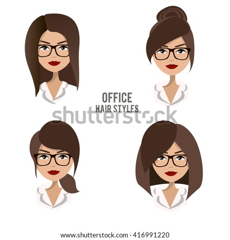 vector set of hair styles and