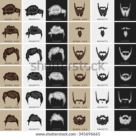 vector set of hairstyles and