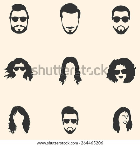 Hairstyles Logo : Of Hairstyles Icons. Hair, Beard, Mustache. Mens And Womens Hairstyles ...