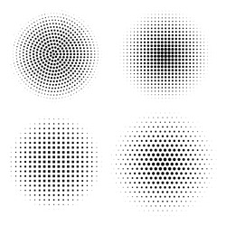 Vector set of halftone design elements. Abstract circles with dotted gradient halftone effect. Black dots on a white background. Digital graphic